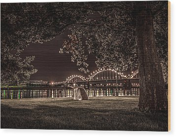 Rock In Leclaire Park Wood Print by Ray Congrove