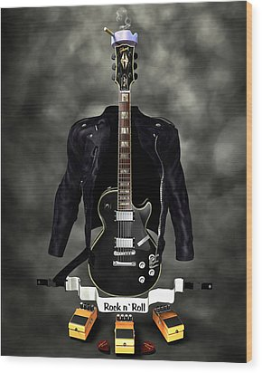 Rock N Roll Crest-the Guitarist Wood Print by Frederico Borges