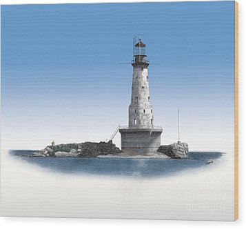 Rock Of Ages Lighthouse Wood Print by Darren Kopecky