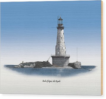 Rock Of Ages Lighthouse Titled Wood Print by Darren Kopecky