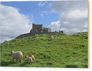 Rock Of Cashel In The Distance Wood Print by DejaVu Designs
