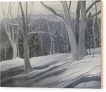 Rock Ridge Snowscene Wood Print by Gretchen Allen