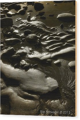 Rock Sand Water Light Wood Print by Ron Schwager