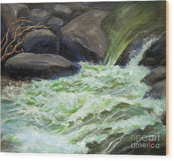Wood Print featuring the painting Rock Splash by Carol Hart
