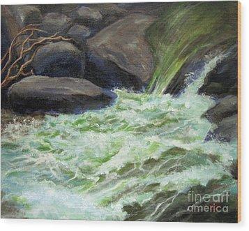 Rock Splash Wood Print by Carol Hart