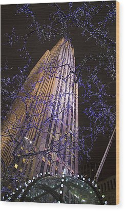 Rockefeller Center Night Lights Wood Print