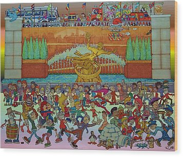 Rockerfeller Center Stage Wood Print by Paul Calabrese