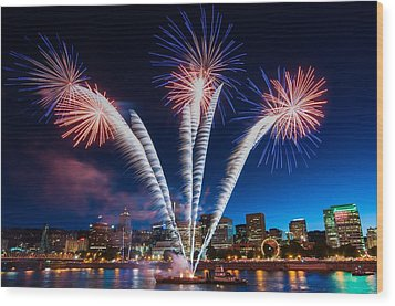Wood Print featuring the photograph Rockets Red Glare by Brian Bonham
