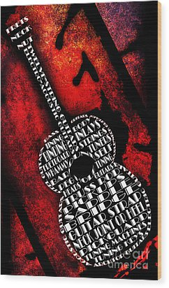 Rockin Guitar In Red Typography Wood Print by Andee Design