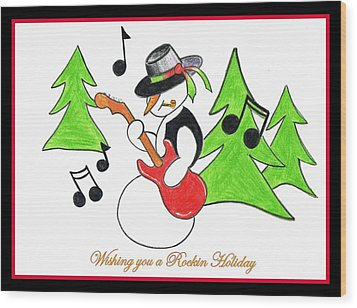 Rockin' Holiday Snowman Wood Print by Chris Fraser