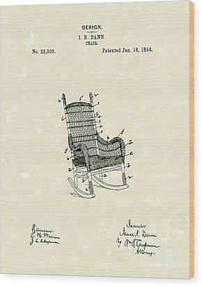 Rocking Chair 1894 Patent Art Wood Print by Prior Art Design