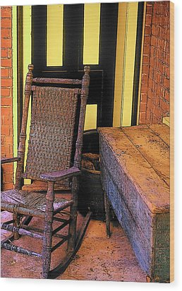 Rocking Chair And Woodbox Wood Print by Rodney Lee Williams