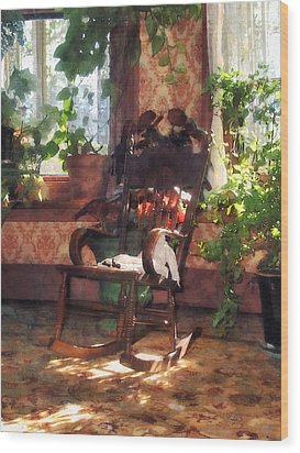 Rocking Chair In Victorian Parlor Wood Print by Susan Savad