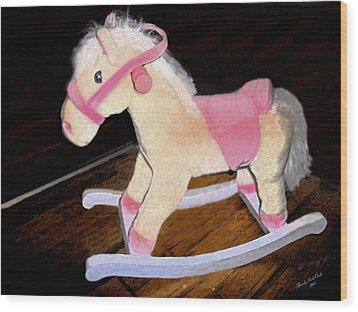 Rocking Horse Wood Print by Brandy Nicole Neal