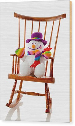 Wood Print featuring the photograph Happy Snowman Sitting In A Rocking Chair  by Vizual Studio