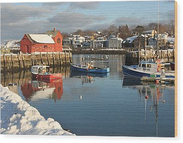 Rockport Harbor In Winter Wood Print by Gail Maloney