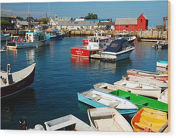 Rockport Harbor Wood Print
