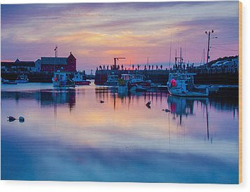 Wood Print featuring the photograph Rockport Harbor Sunrise Over Motif #1 by Jeff Folger