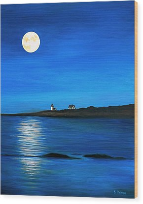 Rockport Harvest Moon Wood Print