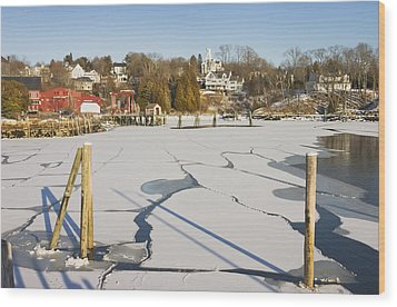 Rockport Maine In Winter Wood Print by Keith Webber Jr