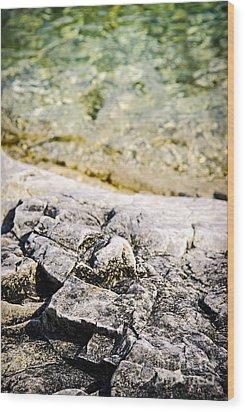 Rocks At Georgian Bay Wood Print by Elena Elisseeva