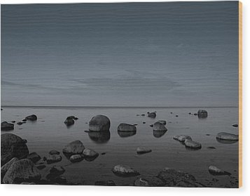 Rocks At Midnight Wood Print by Alex Weinstein