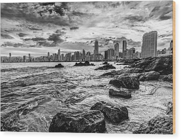 Rocks By The Sea Wood Print by Jose Maciel