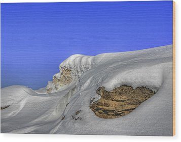 Rocks Covered With Snow Against Clear Blue Sky Wood Print
