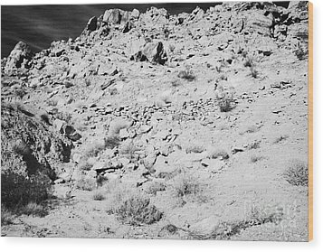 Rocks Forming Support For The Old Arrowhead Trail Road Valley Of Fire State Park Nevada Usa Wood Print by Joe Fox