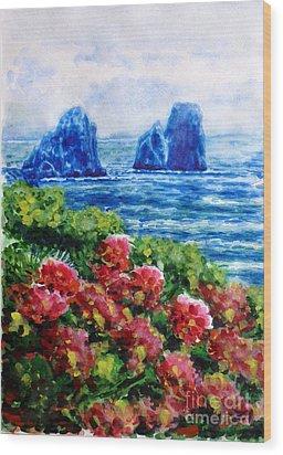 Rocks Of Capri Wood Print by Zaira Dzhaubaeva