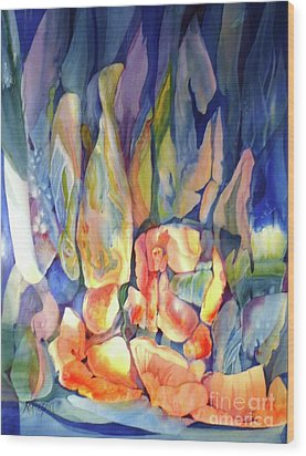 Rocks Under Water Wood Print by Donna Acheson-Juillet
