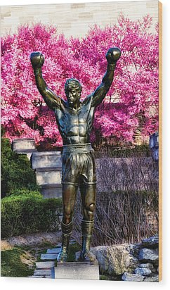 Rocky Among The Cherry Blossoms Wood Print by Bill Cannon