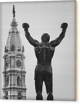 Rocky And Philadelphia Wood Print by Bill Cannon