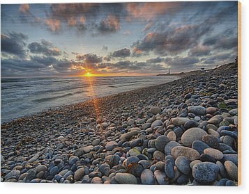 Rocky Coast Sunset Wood Print by Peter Tellone