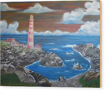 Wood Print featuring the painting Rocky Cove by The GYPSY And DEBBIE