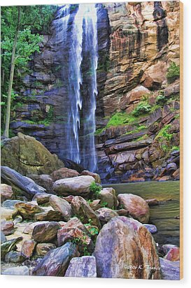 Rocky Falls Wood Print by Kenny Francis