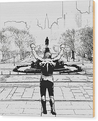 Rocky Is Philadelphia Wood Print by Bill Cannon