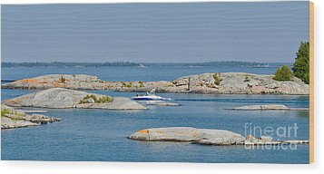 Rocky Islands On Georgian Bay Wood Print by Les Palenik