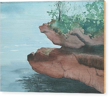 Rocky Ledge Wood Print