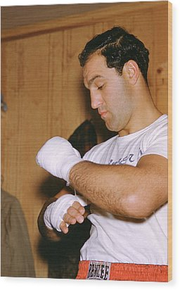 Rocky Marciano Getting Ready Wood Print by Retro Images Archive