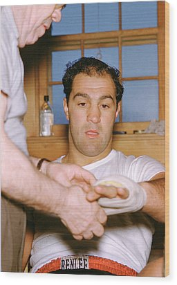 Rocky Marciano Getting Taped Up Wood Print by Retro Images Archive
