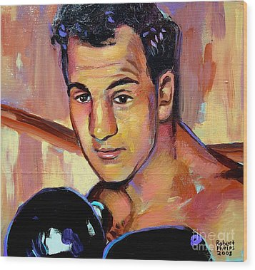 Wood Print featuring the painting Rocky Marciano by Robert Phelps