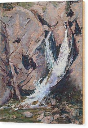 Rocky Mountain Cascade Wood Print by Mary Benke