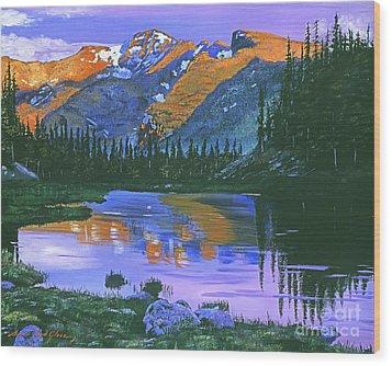 Rocky Mountain Lake Wood Print by David Lloyd Glover