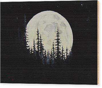 Rocky Mountain Moon Wood Print by C Steele