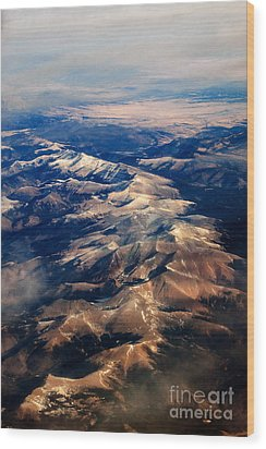 Rocky Mountain Peaks From Above Wood Print by Darleen Stry