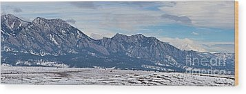 Rocky Mountains Flatirons And Longs Peak Panorama Boulder Wood Print by James BO  Insogna