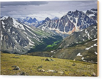 Rocky Mountains In Jasper National Park Wood Print by Elena Elisseeva