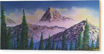 Wood Print featuring the painting Rocky Mountains by Michael Rucker