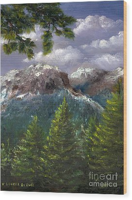 Wood Print featuring the painting Rocky Mountains National Park Colorado by Lenora  De Lude
